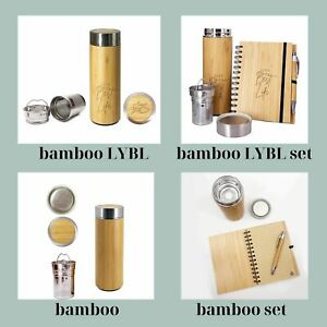 Eco Drinkware Flask Thermocafe Stainless Steel Bamboo Water Bottle with Infuser