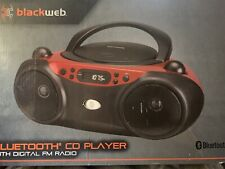Blackweb BWA17AA003 Bluetooth CD Player Boombox with FM Radio, Red and Black
