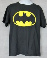 Batman Officially Licensed Boys T-Shirt Black Yellow Logo DC Comics Free Ship
