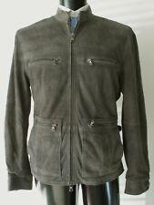 John Varvatos USA Suede Leather Gray Jacket. XL Snug Fit May fit a large