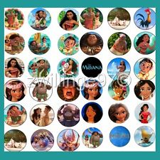 100 Precut DISNEY PRINCESS MOANA Variety BOTTLE CAP IMAGES 1 inch circles discs