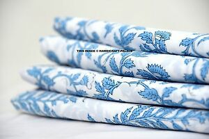 10 Yards Soft Cotton Indian Block Floral Printed Cloth Natural Fabric Apparel