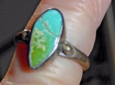 """Vintage Sterling and Turquoise Ring w/Snake Pictograph Hallmark and """"N"""", Size 4"""