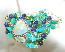 Green Sapphire Vermeil Bezel Gemstone Lapis Chrysoprase  Cluster Charm Bracelet