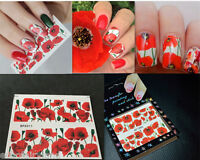 2Sheets Nail Art Water Decals Transfer Sticker Hot Red Flower Style Tips Decor