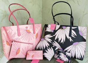 KATE SPADE MOLLY FALLING FLOWER TOTE +POUCH,SPENCER BIFOLD WALLET:NWT PINK,BLACK