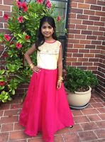 """30"""" Age Size 6 7 8 Fancy Bollywood Indian Western Girls Party Dress Pink Cream"""