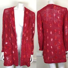 Save the Queen Size L Knit Cardigan Sweater Sequined Red Open Crochet Knit