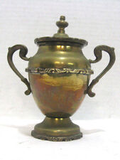 Vintage Silver Plated Brass Urn With Handles & Lid Collectible Antique Decor