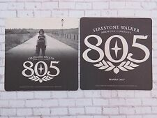 Beer Coaster ~*~ FIRESTONE WALKER Brewing 805 Ale ~*~ Motorcycle Babe w/ Helmut