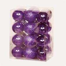 Arbre de noël décoration 24 pack 30mm mini incassable boules-violet