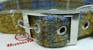 Dog Collar  Mustard & blue check  Harris Tweed - collars and leads
