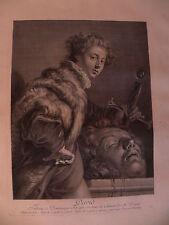 M Davide Golia David Goliath Domenico Feti Fetti Chereau bulino originale 1750