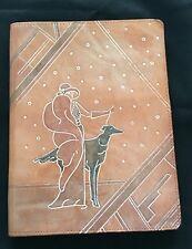 Leather Folio Folder Portfolio Handbag Handmade With Pockets/Notepad~Vintage