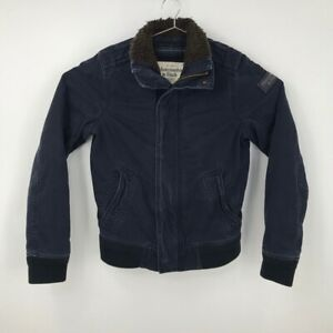 Abercrombie & Fitch Military Jacket Blue Pockets Lined Zip Cotton Mens Medium