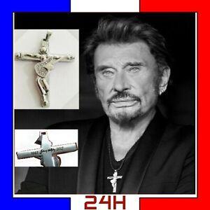 Collier Johnny Hallyday pendentif croix guitare original crucifix bijou cadeau