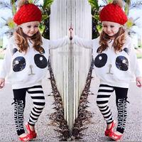 Toddler Kids Baby Girls Panda Sequins Tops T-shirt+Striped Bow Pants Clothes Set