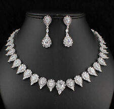 Drop Halo CZ Cubic Zirconia Crystal Necklace Earrings Set Wedding Party CZ899