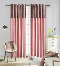 Crushed Velvet Band Faux Silk Eyelet Curtains - Fully Lined Ring Top 7 Sizes