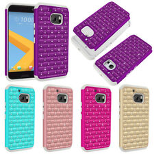 For HTC 10 One M10 Verizon Dazzling Sparkle Bling Hybrid Rubber Hard Case Cover