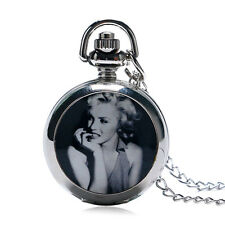 Marilyn Monroe Mini Necklace Gift Silver Quartz Pocket Watch  Pendant Fashion