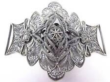 Antique hand made sterling silver large belt buckle engraved flower oval design