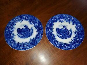 Pair of Antique WEDGEWOOD & Co. Clytie Flow Blue Transfer Turkey Dinner Plates