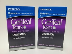 LOT of 2 GenTeal Tears Lubricant Eye Drops Moderate Twin Pack Exp 04/2022