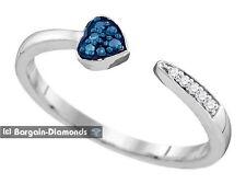 modern fashion 925 ring love promise blue diamond .05 carat heart lovers bypass