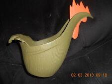 Vintage Cast Iron Rooster Planter ? EMIG 1357 olive green & orange RETRO