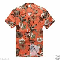 Men Aloha Shirt Cruise Tropical Luau Party Hawaiian Orange Hibiscus Leaf Red