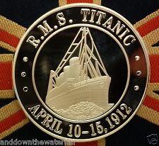 TITANIC Silver COIN English British Medal Ship Ocean White Star Line Flag London