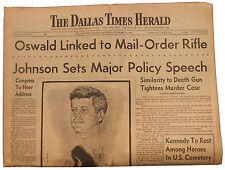 JFK John F. Kennedy Assassination 11/24 Dallas Paper