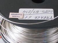 1 METRO DI FILO IN ARGENTO 925 ITALY CRUDO (DURO) DEL DIAMETRO DI  0,5 MM.
