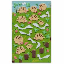 CUTE HEDGEHOG & FERRET FELT STICKERS Sheet Animal Raised Scrapbook Sticker