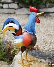 Schöner farbenfroher Hahn Huhn aus Metall für den Garten- und  Wohnbereich.
