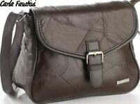 Edle Handtasche aus echtem Leder | Kalbsleder dunkelbraun | Luxus Damentasche