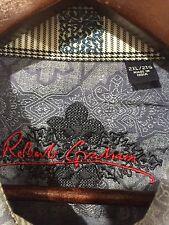 Robert Graham Mens Blue Paisley Shirt Size 2XL Contrast Flip Cuff Long Sleeve