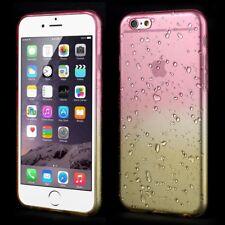 "Apple iPhone 6 6S 4.7"" TPU Gel Case Dual Color Waterdrop Wassertropfen Rosa Gelb"
