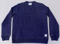 Lucky Brand Men's L/S Quilted Crew Neck Sweater KB8 Indigo Medium NWT