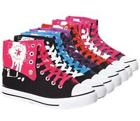 NEW!! Women's Classic High Top Fold Over Graffiti Lace Up Canvas Fashion Sneaker