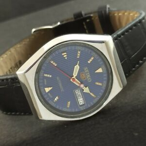 OLD VINTAGE SEIKO 5 AUTOMATIC JAPAN MENS DAY/DATE WATCH 457d-a229271-9