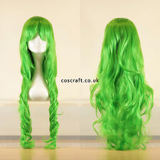 80cm long wavy curly cosplay wig in lime grass green, UK seller, Jeri style