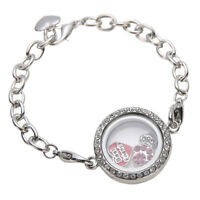 Women Rhinestone Living Memory Floating Charm Round Photo Frame Locket Bracelet