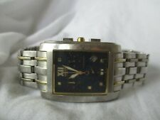 Citizen Men's Rectangular Watch, Silvertone Link Band, Date Indicator, WORKING!