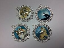 Pack of 4 Wolf and Moon Pendants for Necklace Key Phone Bag Charm Making