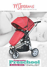 MJprams DAISY RED Travel System 3 in 1 incl. Car Seat+FREE isoFIX Base &Mams Bag