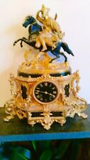 Antique  French Gilt Figural  8 Day Striking Mantel Clock Circa 1860