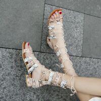 Gladiator Women Block Heels Open Toe Snakeskin Zipper Lace Up Chic Sandal Shoes
