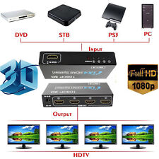 1 In 4 Out Verteiler HDMI Splitter 1x4 fach 1080p Switch Full HD für 3D HDTV PC.